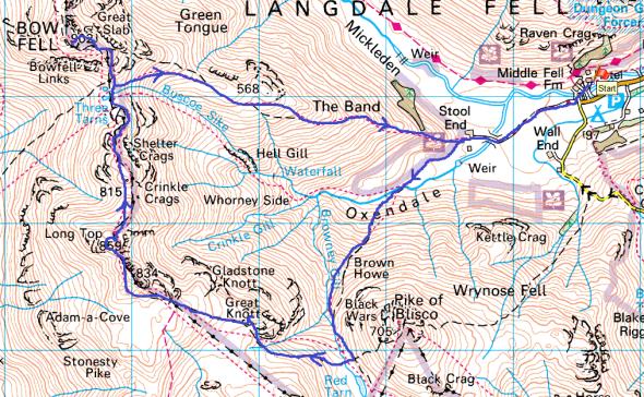 Bowfell map