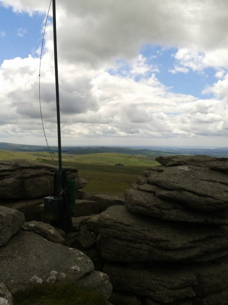Military flag pole on Great Mis Tor