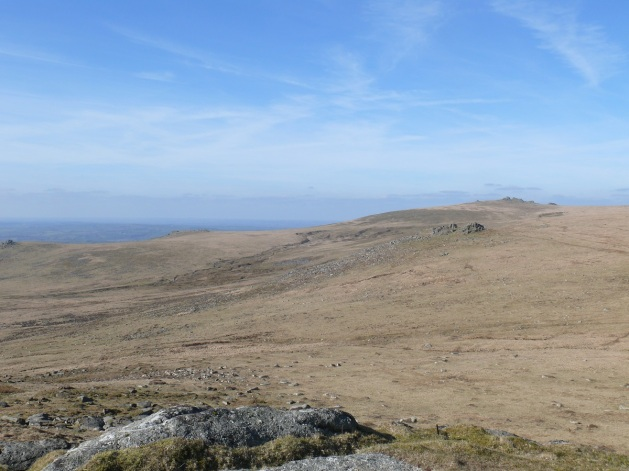 Looking back to Sharp tor and Great Links Tor. Brat Tor on the far left.