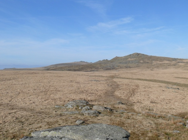 Looking back up at Hare Tor, Sharp Tor and Great Links Tor taken from the path the Ger Tor
