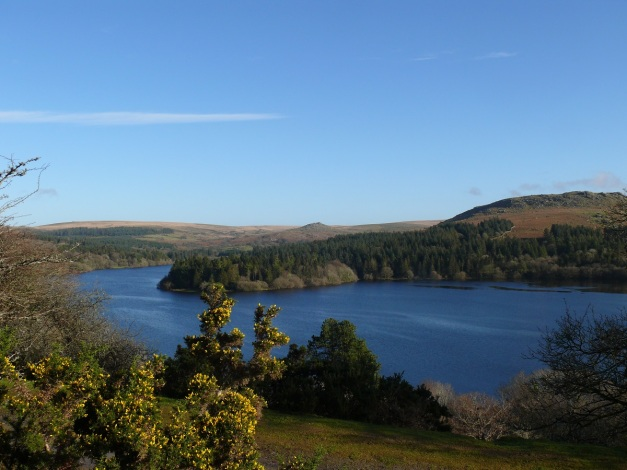 Burrator Reservoir with Sheeps Tor right and Down Tor in the distance