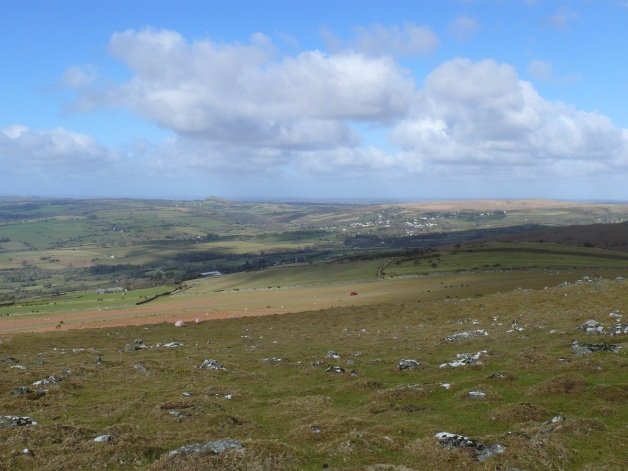 Cornwall with the prominent Brentor from the slopes of Cox Tor