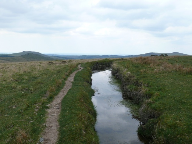 Devonport Leat near Older Bridge, in the distance Sheepstor on the left and Leather Tor to the right