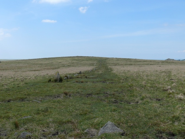 Looking back along Down Tor Stone Row in the direction of Down Tor