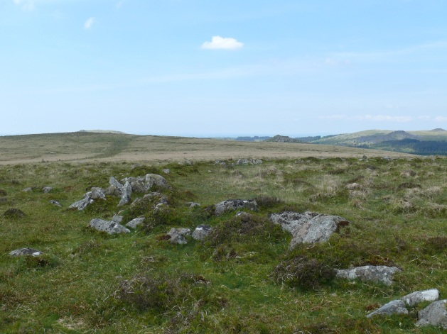 What looks like a circular settlement with Down Tor Stone Row on the left, Peek Hill on the right