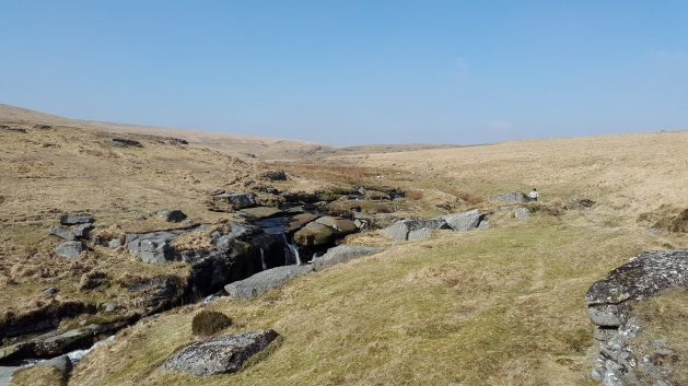 East Dart Waterfall with Sandy Hole Pass in the distance