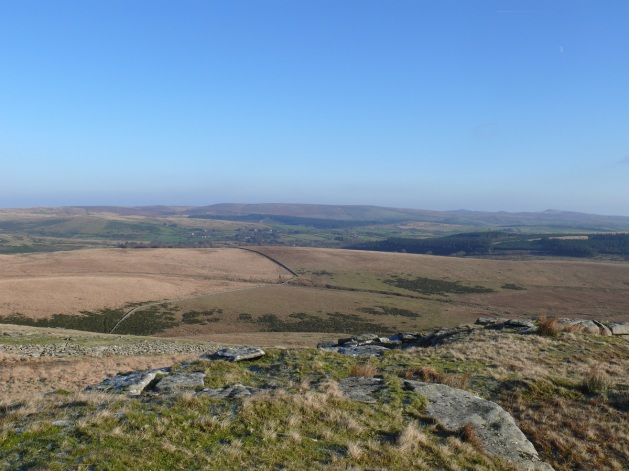 The easterly view with the bulk of Hameldown Tor in the centre