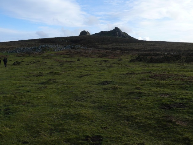 Looking to Haytor from the path beside Holwell Tor