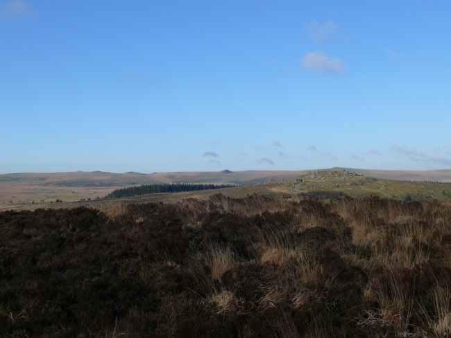 Views of Bellever Tor and beyond from Laughter Tor