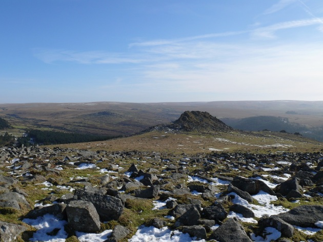 Looking down on Leather Tor from Sharpitor