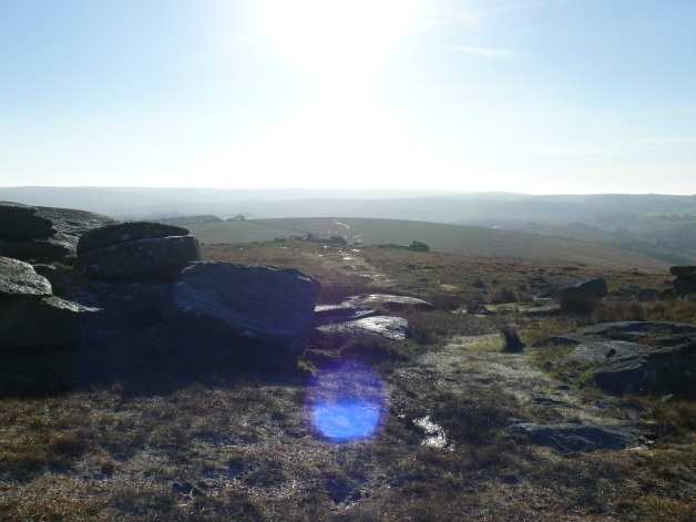 Looking back into the sun from Littaford Tor with Little Bee Tor nearest.