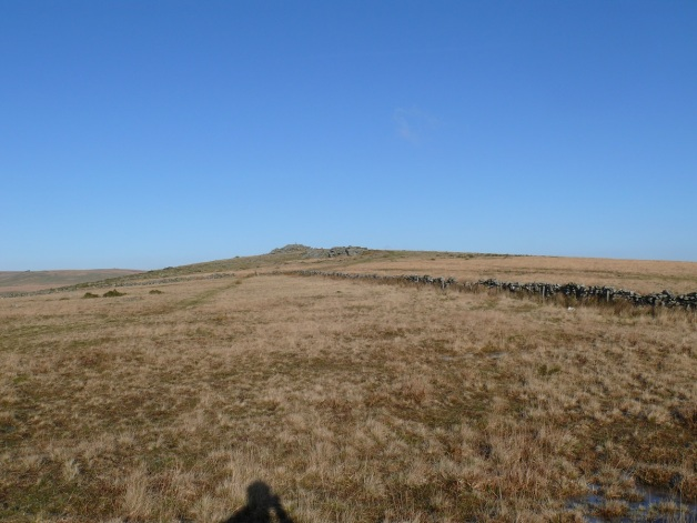 Looking up to Little Bee Tor with Littaford and Longaford Tors in behind