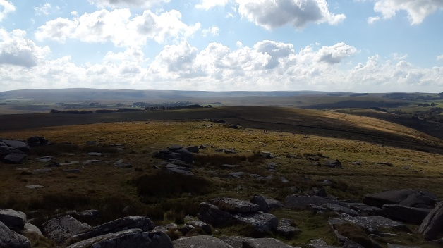 Looking back to Littaford Tor with Ryder's Hill in the distance left