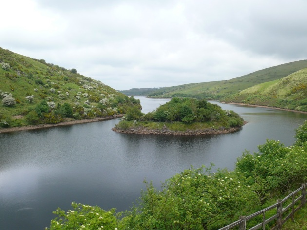 Looking back along the reservoir with the dam at the far end