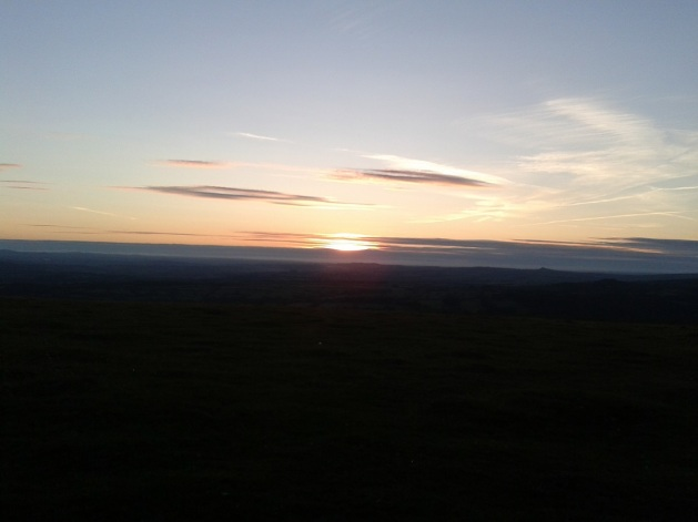 Sunset Peek Hill, Brentor is the tiny bump to the right