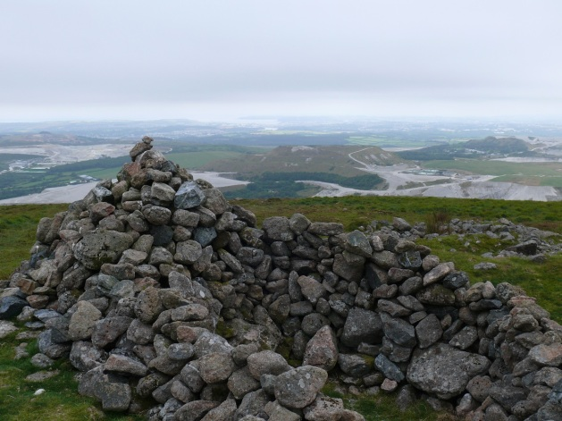 Penn Beacon cairn looking down to the Lee Moor China Clay works
