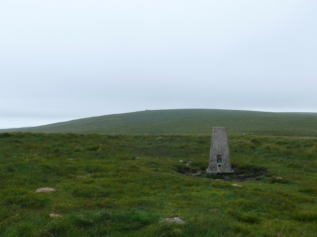 Trig point at Penn Beacon, Shell Top is the hill behind