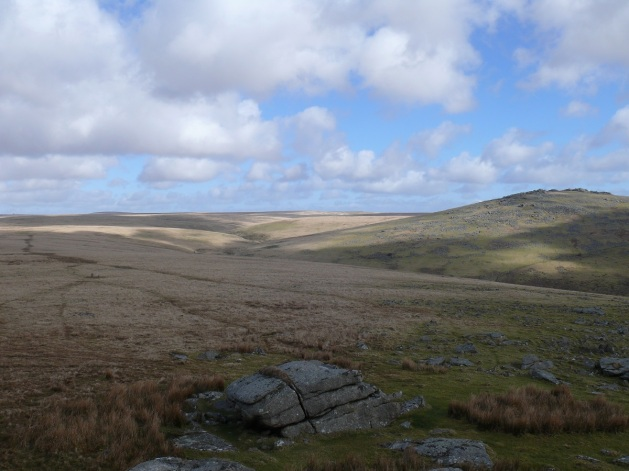 The River Walkham in the valley below with Great Mis Tor on the left