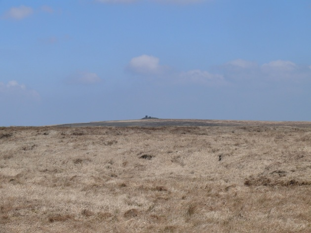 The submarine shape of Rough Tor summit from the path to Lydford Tor
