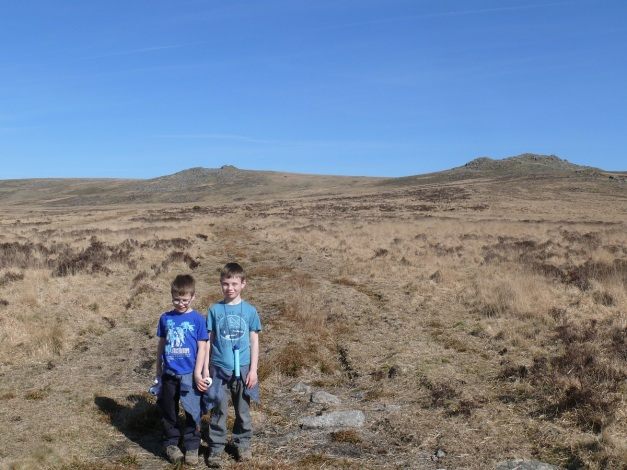 Heading for Sharp Tor on a warm March day, Hare Tor to the right.