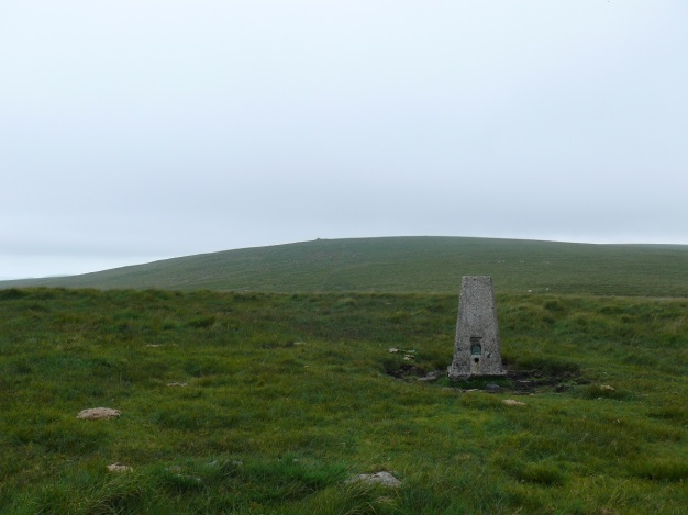 Penn Beacon trig point looking to Shell Top in the distance
