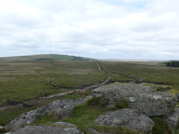 Princetown and the mast on North Hessary Tor from the South