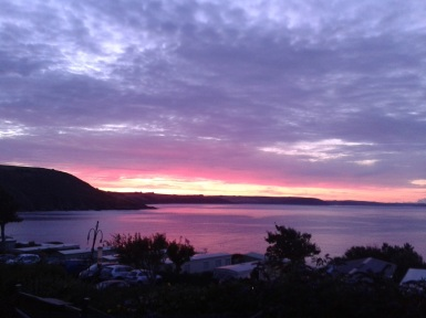 Sunrise over Bigbury Bay from Revelstoke caravan Park