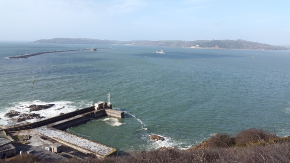 Plymouth Sound and Breakwater, Cornwall (Rame Peninsula)across the bay