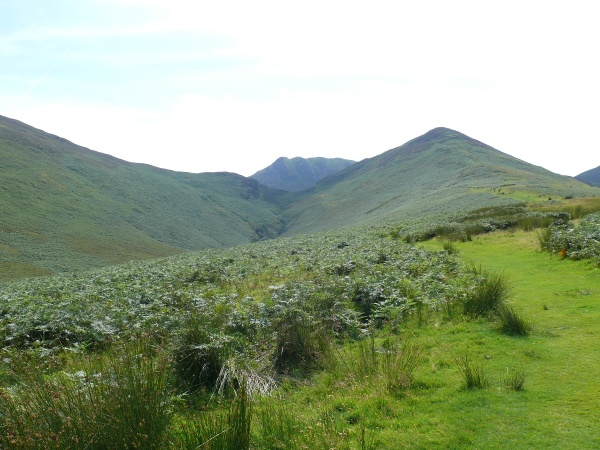 The way ahead, the dip in the middle is Barrow Door where we are heading, with Stile End on the right and the nobbly Causey Pike behind