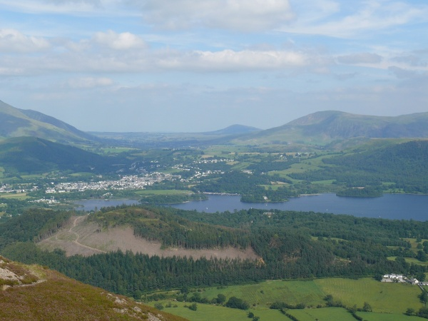 Keswick town and Derwent Water