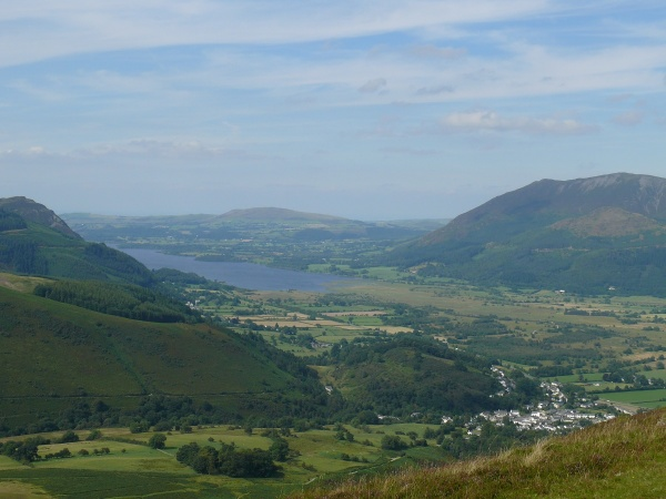 Braithwaite village at the bottom of the shot with Lake Bassenthwaite beyond.