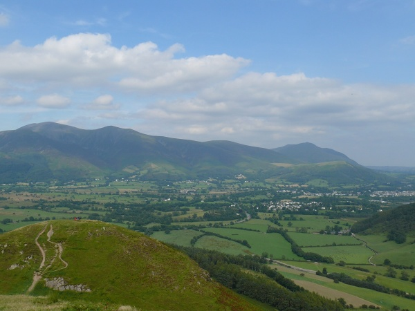 Keswick with Skidaw up on the left and Blencathra in the distance right