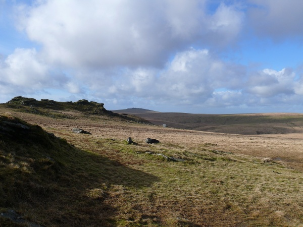 Looking across to the other Beardown Tor and the military obs hut. Great Mis Tor in the distance