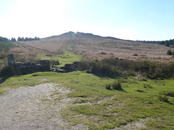 Looking back to Bellever Tor from the boundary walls