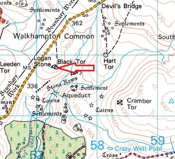 black-tor-walkhampton-map