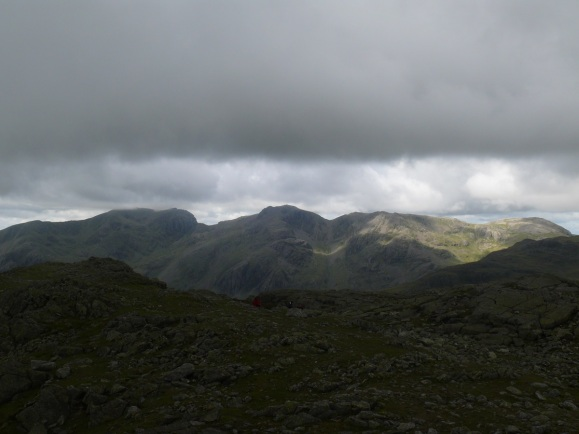 First look at the Scafell range, Scafell Pike in the middle