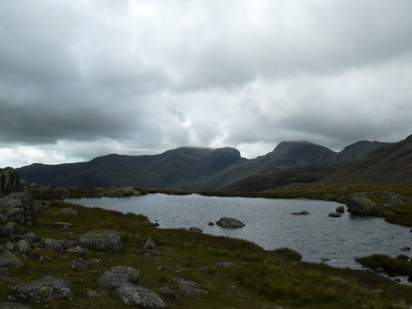 Three Tarns looking to the Scafells