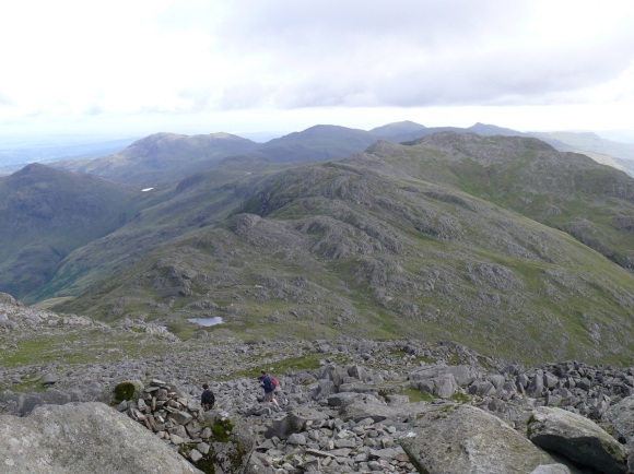 Looking down on Three Tarns and Crinkle Crags from Bowfell. Red Tarn can be seen in the distance.