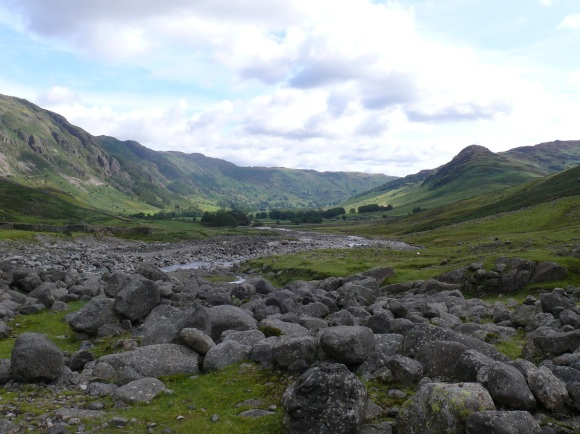 Looking out of Oxendale back into Great Langdale, pointy Side Pike on the right