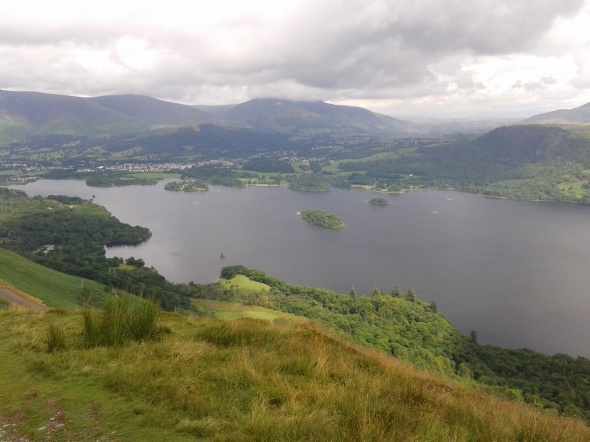 Derwent Water, Keswick and Blencathra behind from the climb to Catbells