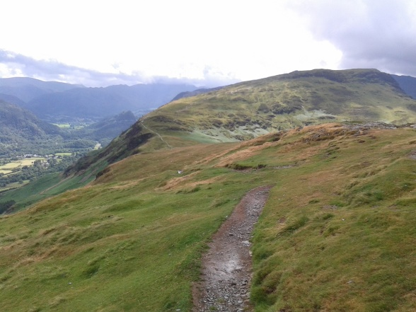 The route down to Hause Gate and onwards to Maiden Moor from Catbells summit