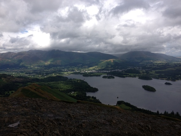 Skiddaw with its head in the clouds and Keswick below from Catbells