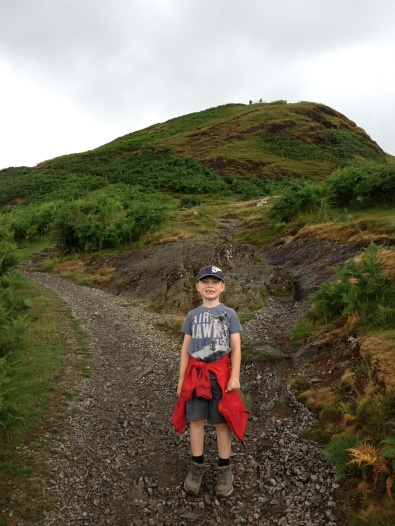 He's ready for the climb, Skelgill Bank behind