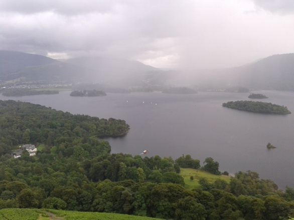 One of the many rain showers passes over Derwent Water