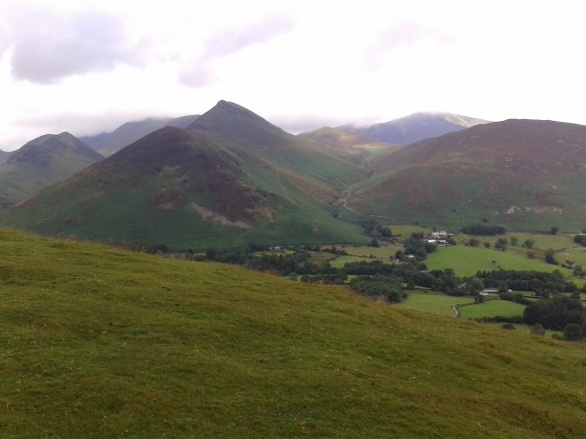 Looking into Newlands Valley, Causey Pike is the pointy fell to the left