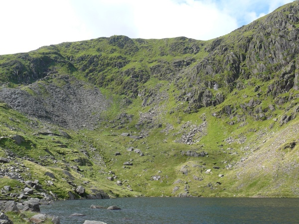 Low water with Coniston Old Man above