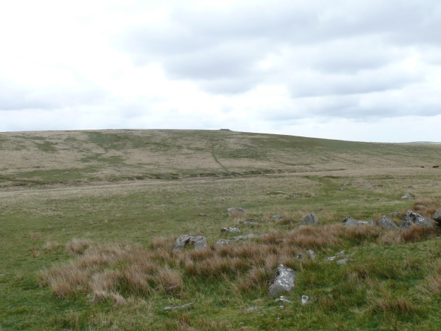 A quite dull looking view of Cramber Tor from Black Tor