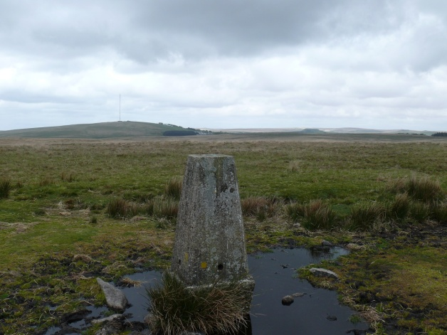 Trig point near Cramber Tor looking to North Hessary Tor and the mast