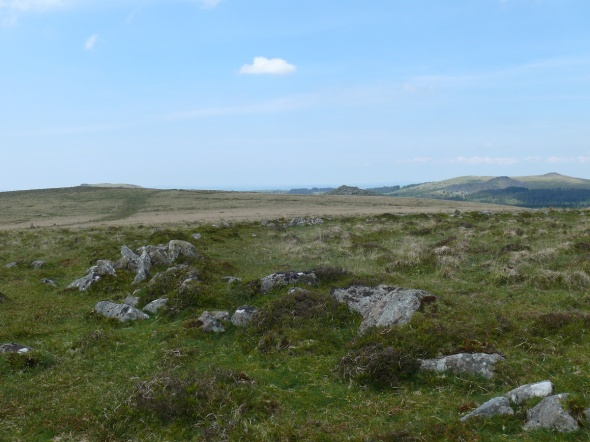 Stone circle at the far end of Down Tor Stone Row