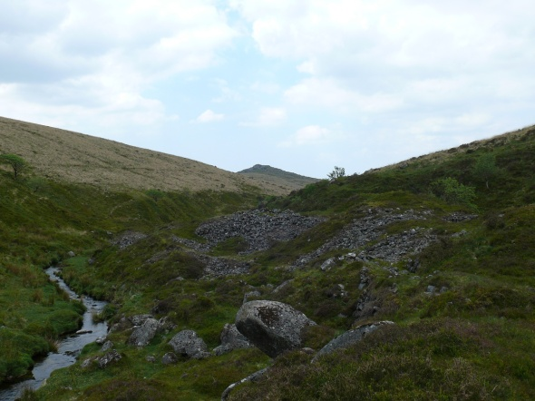 At the bottom of Newleycombe Lake with Down Tor ahead